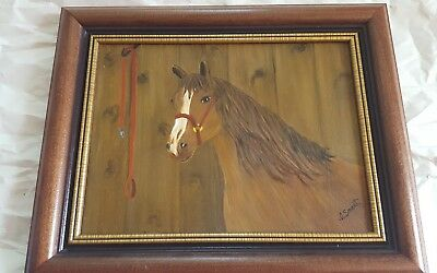 """ORIGINAL OIL ON CANVAS signed by Artist 16"""" X 13"""" FRAMED HORSE PAINTING"""