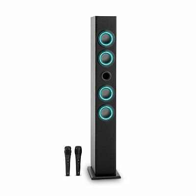 Bluetooth Tower Speaker Karaoke System USB-Port Aux-In FM 2 Microphones