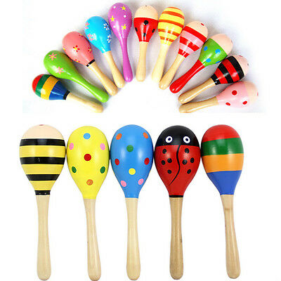 Wooden Ball Rattle Sand Hammer Kid Toy Baby Musical Instrument Toy Gift UK