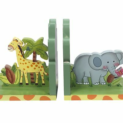 Fantasy Fields - Sunny Safari Animals Thematic Set of 2 Wooden Bookends for Kids