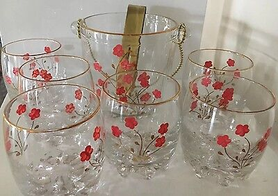 Elegant Decorated Glass Ice Bucket And 6 Matching Glasses Pink Floral