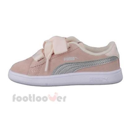 Puma Smash v2 Ribbon AC PS 366004 02 Kids Shoes Pearl Pink Suede Casual  Sneakers d10ffd0d69