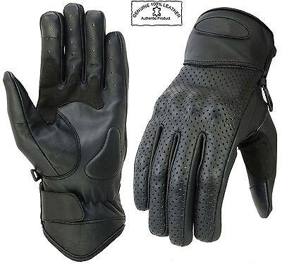 Vented Leather Motorbike Motorcycle Summer Gloves Knuckle Shell Protection