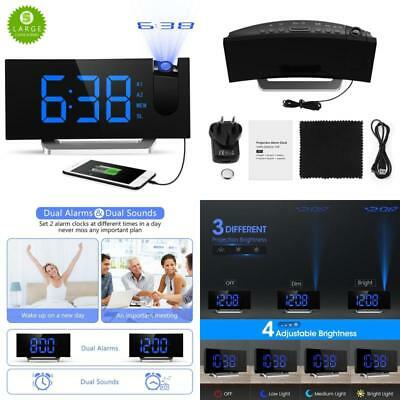 Digital Projection Alarm Clock Ceiling Time Projector FM Radio USB Charging Port