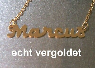 Classy Necklace Marcus Chain Real Gold Plated Name New