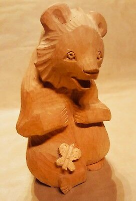 Vintage Russian Bogorodsk Hand Carved Wooden Folk Art Bear with Butterfly