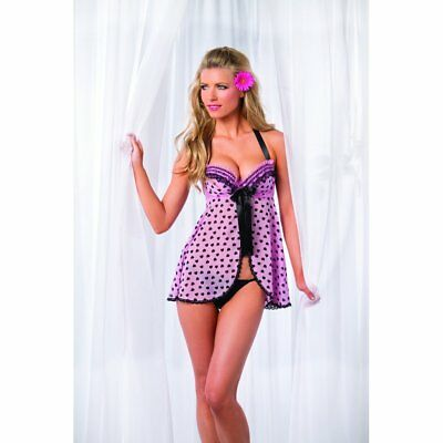 New Hot erotic pink mesh babydoll with heart print