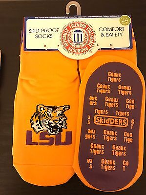 Unisex Child Baby Infant Skidders LSU Skid-Proof Socks sz 24 Month Geuax Tigers