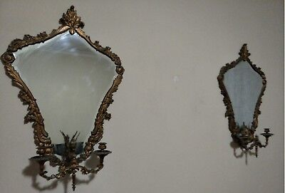 Two Antique French Bronze Angel Fleur de Lys Mirrors with Candlestick Holders