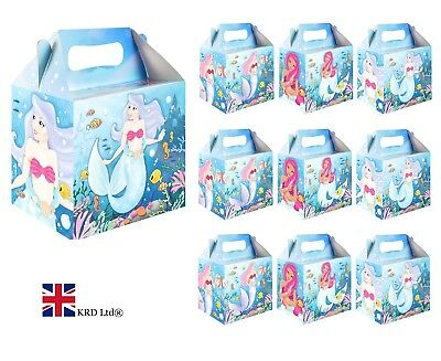 MERMAID PARTY BOXES Kids Themed Birthday Gift Loot Bags Favors Box Lot UK