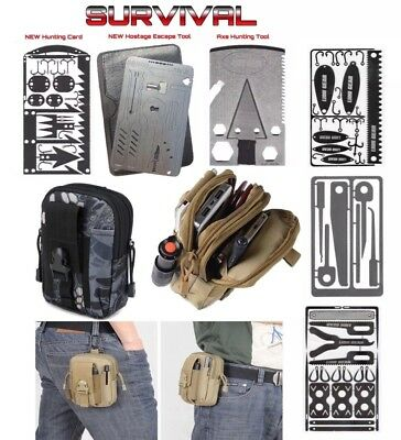 SURVIVAL Axe Hunting Fishing Medical Hostage Escape Combo Multi Tool Pouch Black