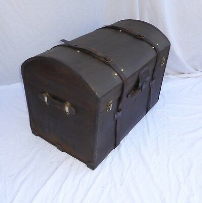 Antique Canvas Leather Dome Top Trunk