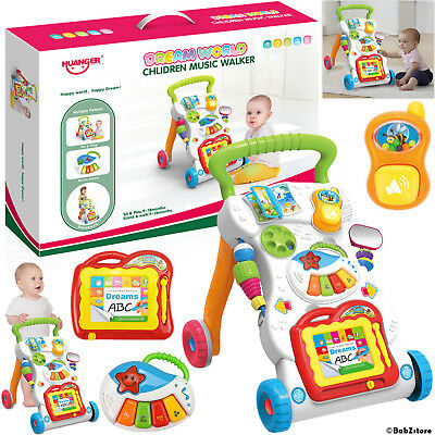 New 2 In 1 First Steps Baby Walker Sounds and Lights Fun Push Along Walker UK