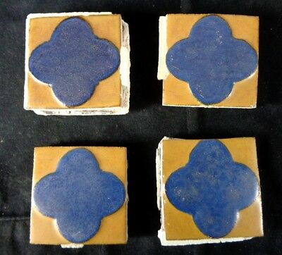 (4) VERY RARE * Grueby Pottery Tile * (2 COLORS) ** GEOMETRICS ** (SAVE U FRAME)