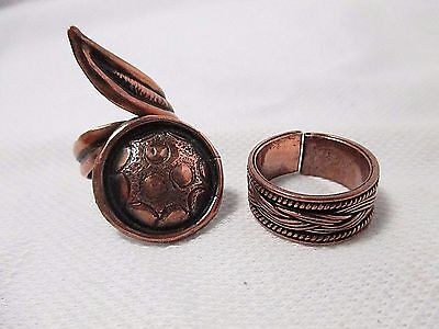 Lot of 2 Copper Tone Metal Adjustable Rings