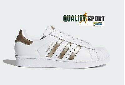 ADIDAS SUPERSTAR W Bianco Rame Scarpe Shoes Donna Sportive