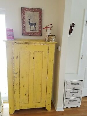 Antique yellow wood pie safe cupboard
