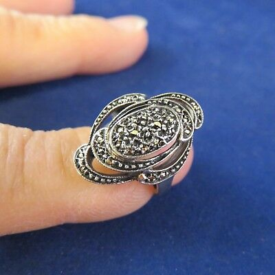 Sterling Marcasite Ring  Oval w Swirls Sz. 5-1/4 (1086)