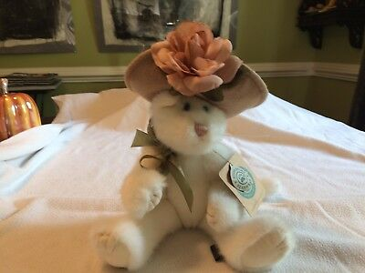 Boyds Bears White Cat Lola big hat with pink rose cute plush kitty