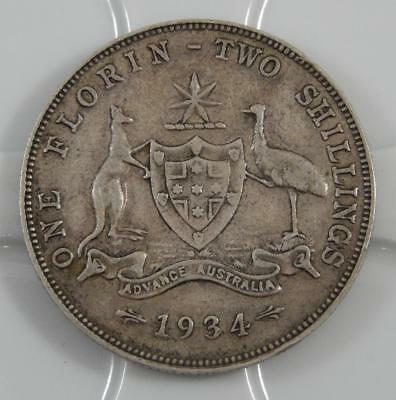 Australia 1934 One 1 Florin Sterling Silver Coin Two Shillings C0572