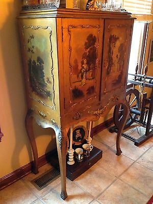 French Hand Painted Scene Women Filagree Ornate Chest Secretary Antique Cabinet