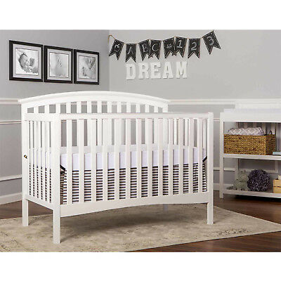 5-in-1 Convertible Crib Side Rail Toddler Day and Full Size Bed White