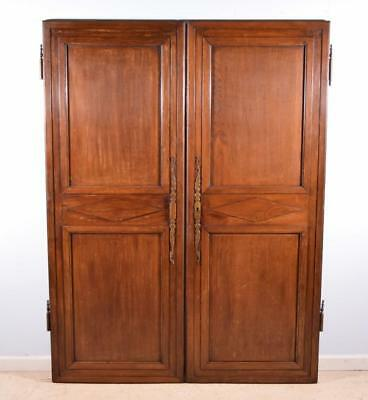 "*69"" Tall Pair of Antique French Provincial Oak Wood Doors Early 1800's Salvage"