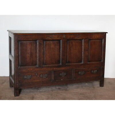 A Large Georgian Carved Oak Mule Chest Blanket Box Coffer Dated 1751
