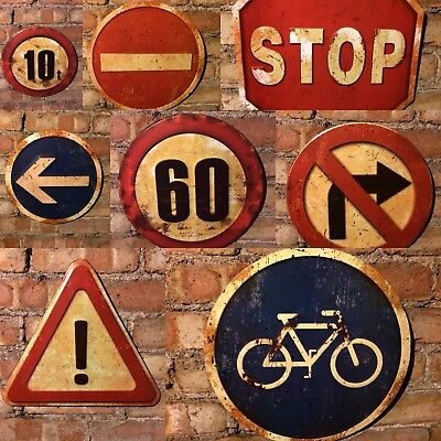 ROAD SIGNS Traffic Warning Safety Industrial Vintage Wall Plaques Antique Style