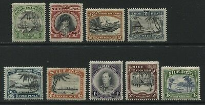 Niue 1944-46 set of 9 stamps to 3/- SG89-97 MH - BD065