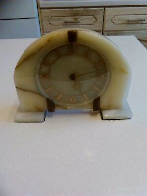 Onyx Framed Smiths 8 Day Mantel Clock Art Deco Style _ for repair