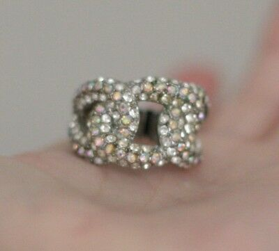 Vintage Stretch Ring Silver Tone & Clear Tiny Rhinestones & Color Open Cut