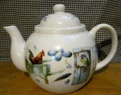 "Natures Sketchbook Marjolein Bastin Teapot in Blue Colors 6x6.5""   ca 1995"