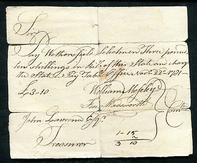 1781 3 Three Pounds 10 Ten Shillings Colonial Fiscal Document