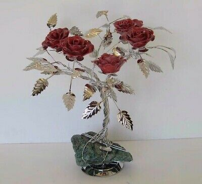 Fine Italian Silver Plated & Painted Porcelain Vivid Burgundy Five Rose Tree