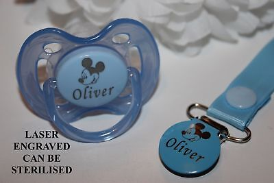 Personalised Mickey Mouse Inspired Avent Dummy and Clip ** MORE COLOURS **