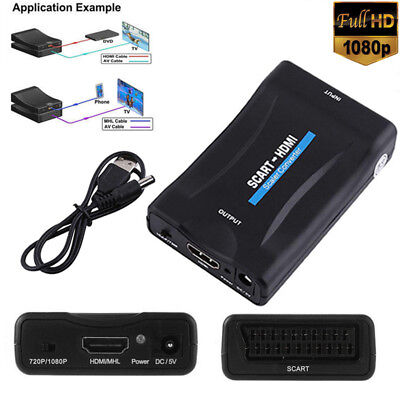 720P 1080P HD SCART To HDMI Video Audio Upscale Converter Adapter w/ USB For
