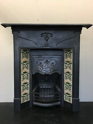 Original Restored Antique Cast Iron Art Nouveau Tiled Fireplace Insert (TA473)