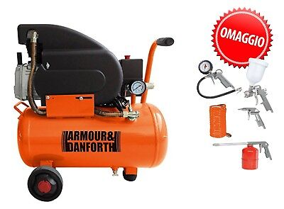 Compressore 24 Lt 2,5 Hp 8 Bar 1800W Lubrificato Ad Olio  Armour + Kit 5 Acc