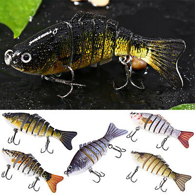 3D Eyes Lifelike Bass Muskie Pike Striper Fishing Bait Swimbait Lure 7 Jointed