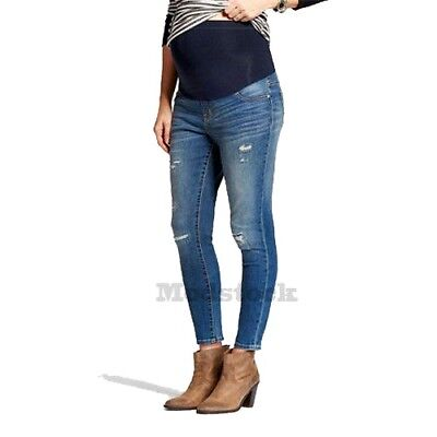 Womens Liz Lange Maternity Distressed Over Belly Ankle Skinny Jeans NWOT C469