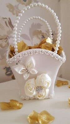 Ivory Wedding Bridesmaid Flower Girl Basket With And Without Petals