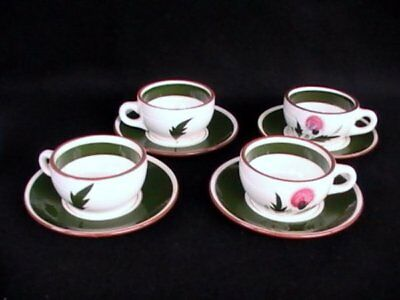 Stangl Pottery Pink Thistle 4 Coffee Cups/Saucers Brown/Green EUC