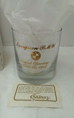 BMW Collectible Advertising Rocks Glass 22k or Platinum trim Lot of 4 Glasses