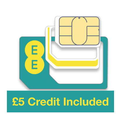 EE Pay as you go Trio Sim card, Preloaded with £5 Credit, Does not expire