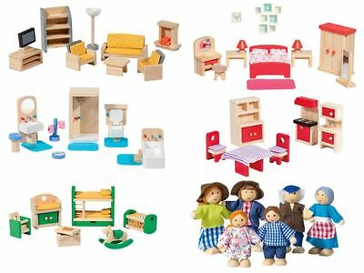 Dolls House Furniture Solid Wood Living Room Bathroom Kitchen Bedroom Children
