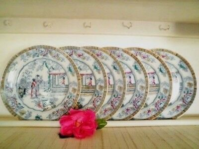 Antique Dinner Plates X6 Gildea & Walker C1881-85 Chinoiserie Chinese Pagoda