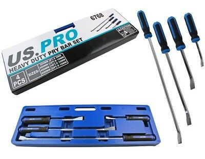 HEAVY DUTY GO THROUGH PRY BAR SET by US PRO TOOLS 20, 30, 45, 60cm Long Levers