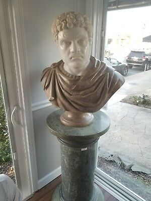 Marble Stone Bust & Column Depicts Ancient Roman Sculpture White Gray