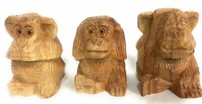 "Set of ""3 Wise Monkeys"" Hear Speak See No Evil - Hand Carved 